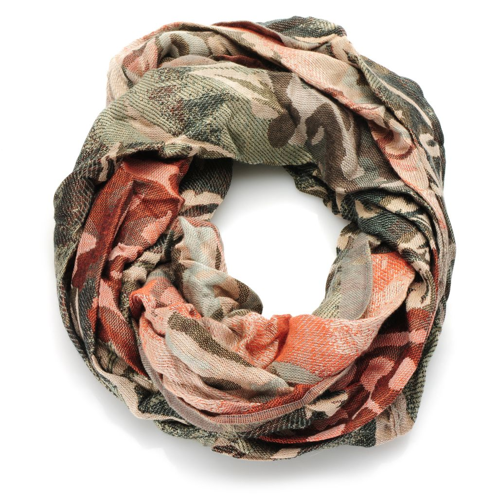 717-372 - Collection XIIX Woven Rose Design Infinity Loop Tapestry Scarf