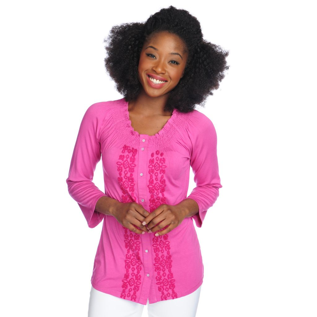 717-373 - OSO Casuals Stretch Knit 3/4 Sleeved Embroidered Peasant Top
