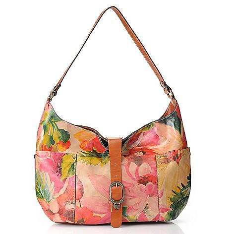 717-377 - Patricia Nash ''Urbino'' Leather Buckle Detailed Slouchy Hobo Handbag