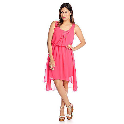 717-380 - Kate & Mallory Chiffon Sleeveless Hi-Lo Hem Flip Flop Dress