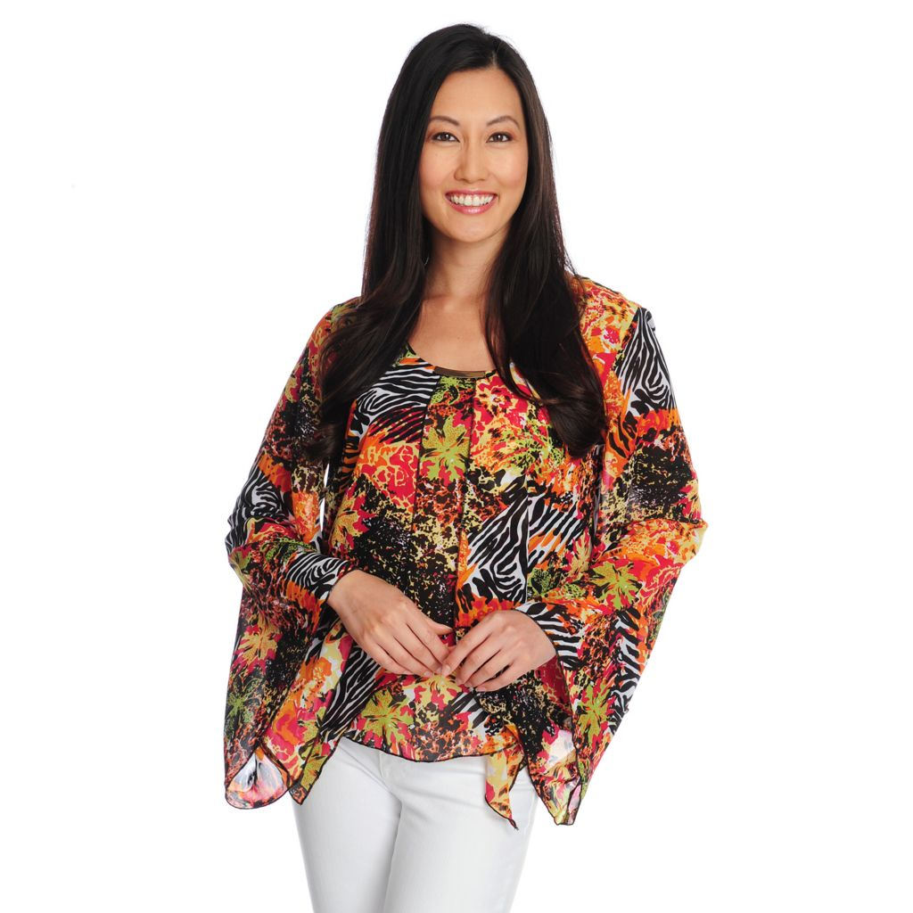 717-381 - Kate & Mallory Printed Chiffon Bell Sleeved Scoop Neck Overlay Top