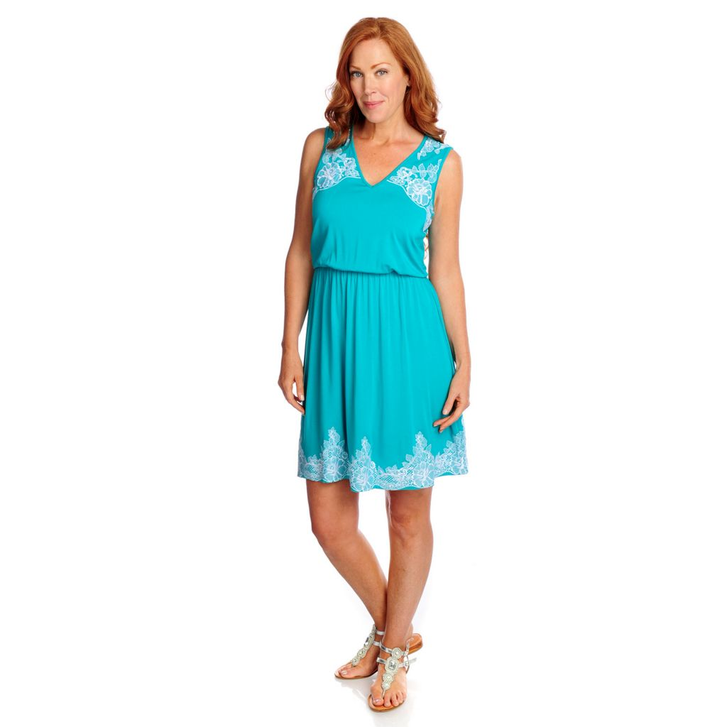 717-382 - Kate & Mallory Stretch Knit Sleeveless Embroidered Detail Flip Flop Dress
