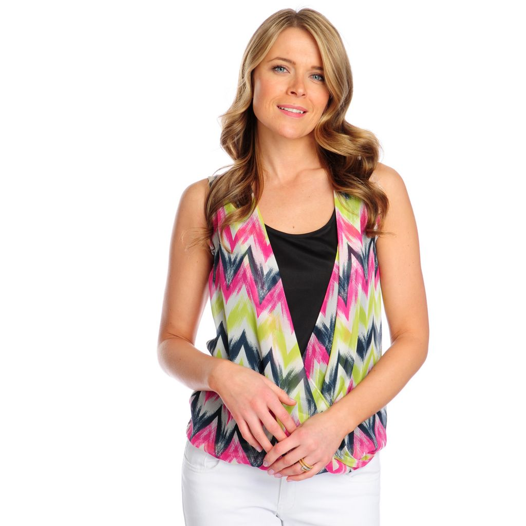 717-384 - Kate & Mallory Printed Woven Sleeveless Crossover Front Scoop Neck Top