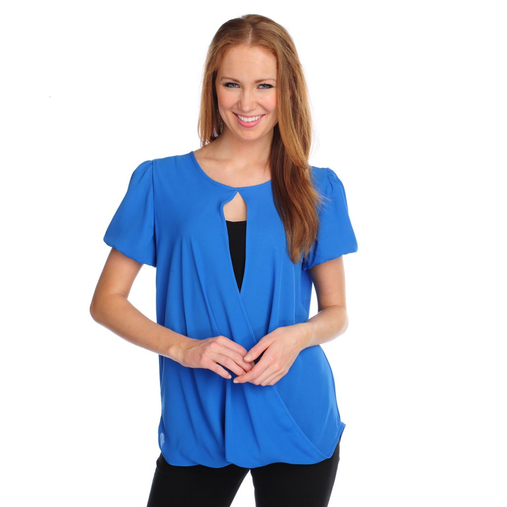 717-386 - Kate & Mallory Crepe Short Sleeved Lightweight Crossover Top