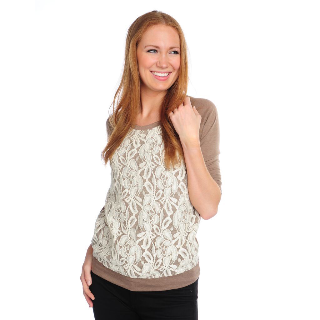 717-387 - Kate & Mallory Heathered Knit Raglan Sleeved Round Neck Lace Front Top