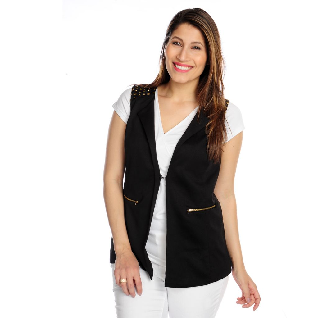 717-390 - Kate & Mallory Ponte Knit Sleeveless Embellished Two-Pocket Vest