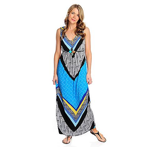 717-396 - Kate & Mallory® Printed Knit Sleeveless Tie-Waist Maxi Dress