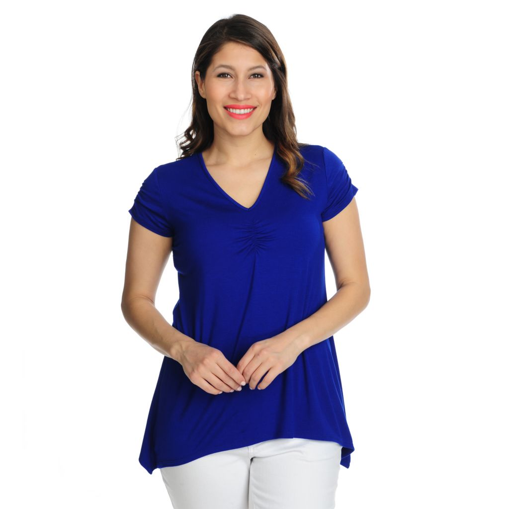 717-401 - Kate & Mallory Stretch Knit Cinched Sleeve V-Neck Sharkbite Hem Tee