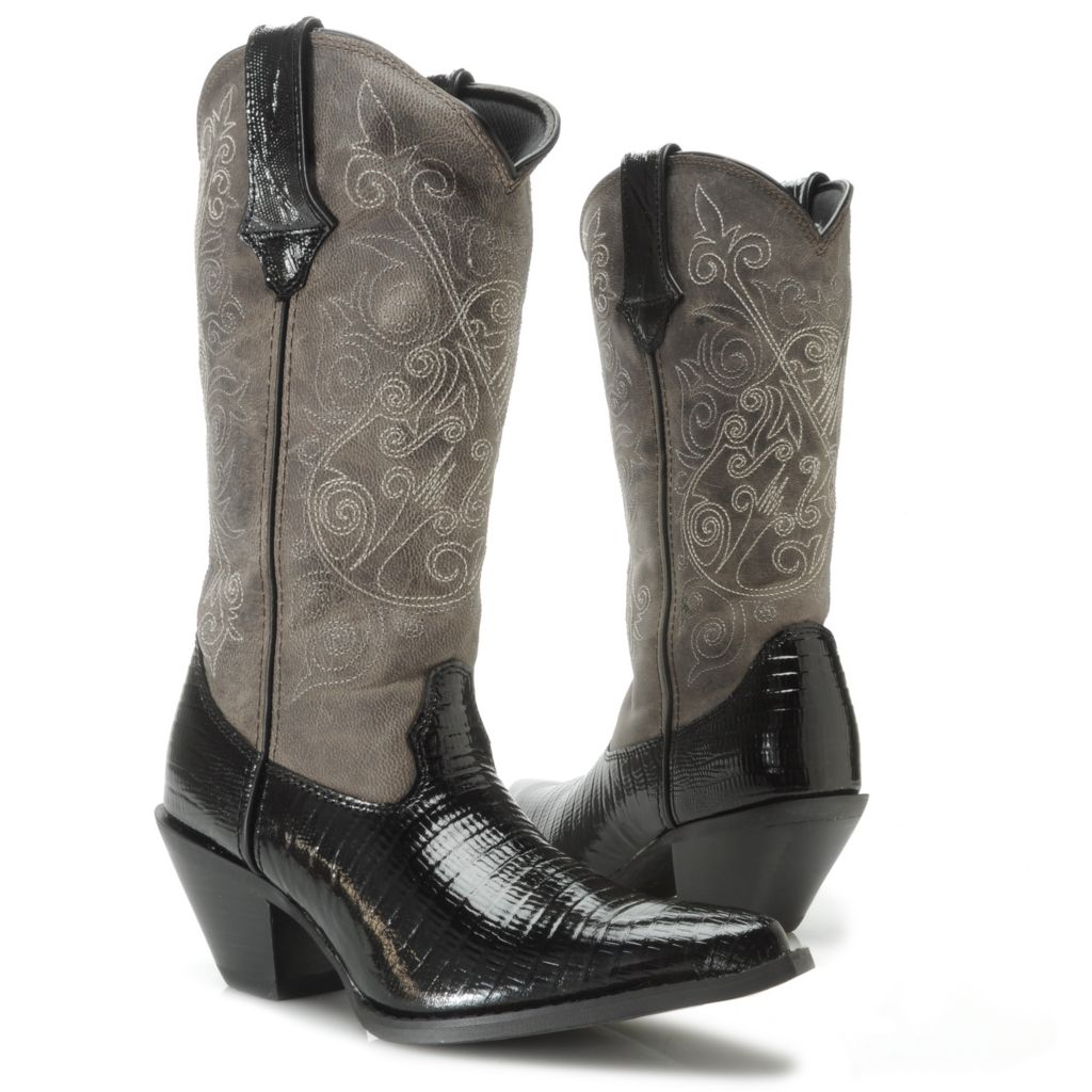 717-403 - Durango Women's Lizard Embossed & Burnished Leather Scalloped Pull-on Mid-Calf Boots