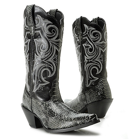 717-404 - Durango Snake Embossed Scalloped Pull-on Western-Style Mid-Calf Boots
