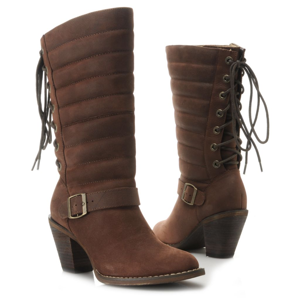 717-405 - Durango Full Grain Leather Lace-up Back & Quilted Shaft Mid-Calf Boots