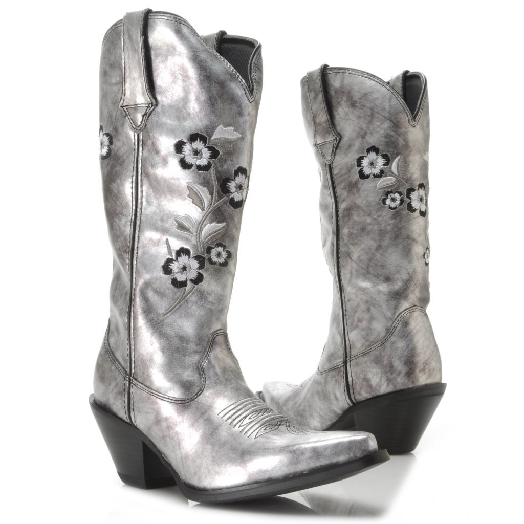 717-406 - Durango Embroidered Floral Design Metallic Western-Style Mid-Calf Boots