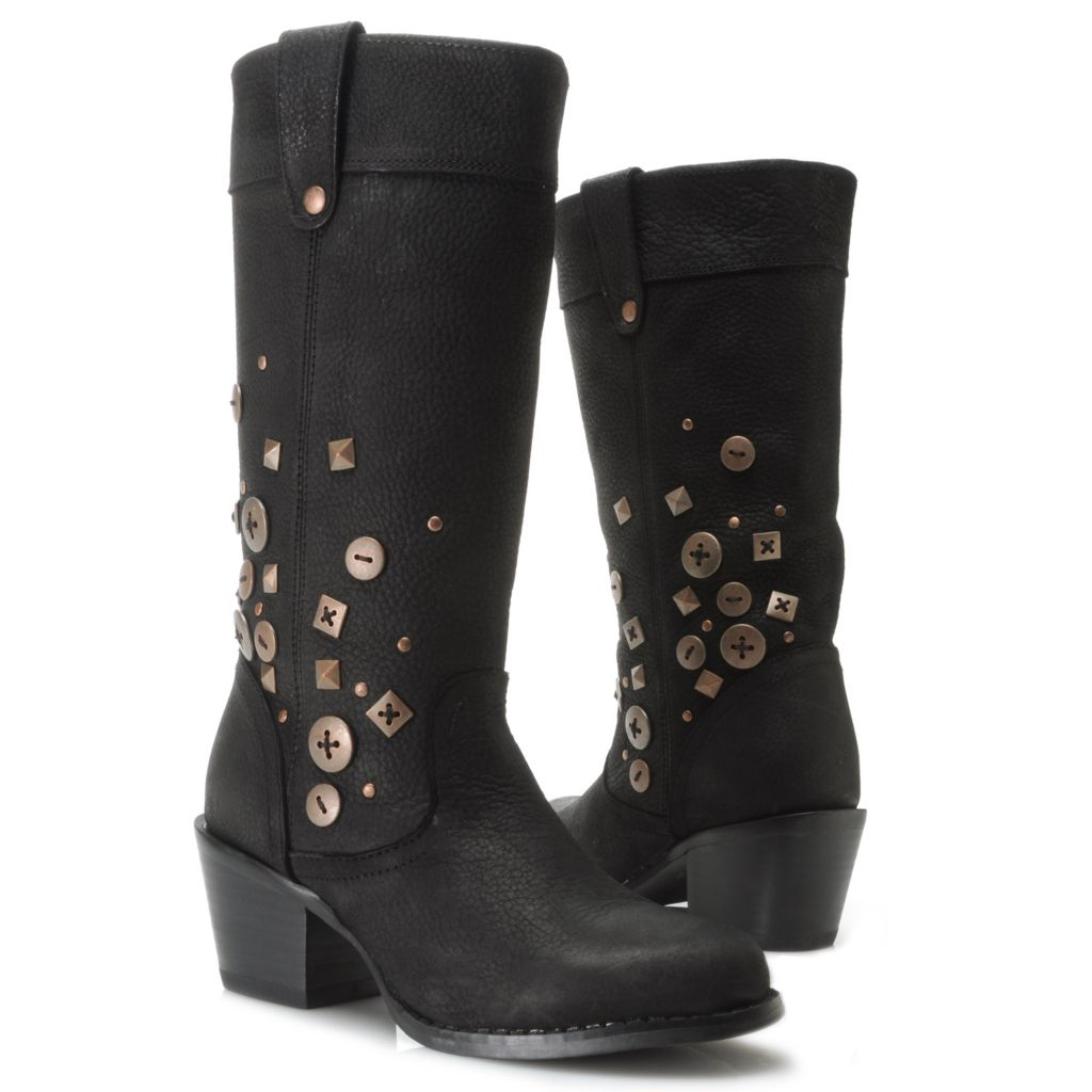 717-407 - Durango Full Grain Leather & Denim Button Detailed Convertible Mid-Calf Boots