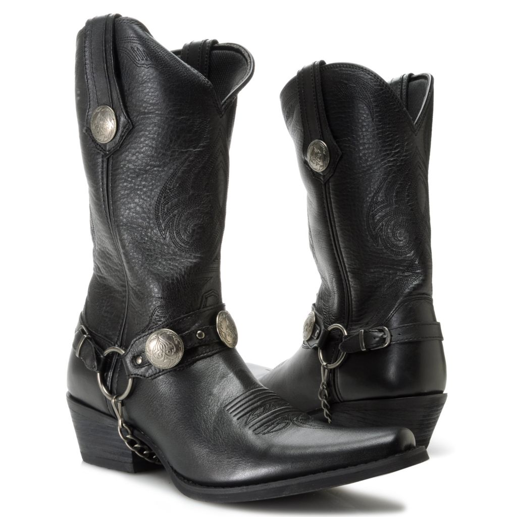 717-408 - Durango Men's Full Grain Leather Concho Detailed Removable Harness Mid-Height Boots