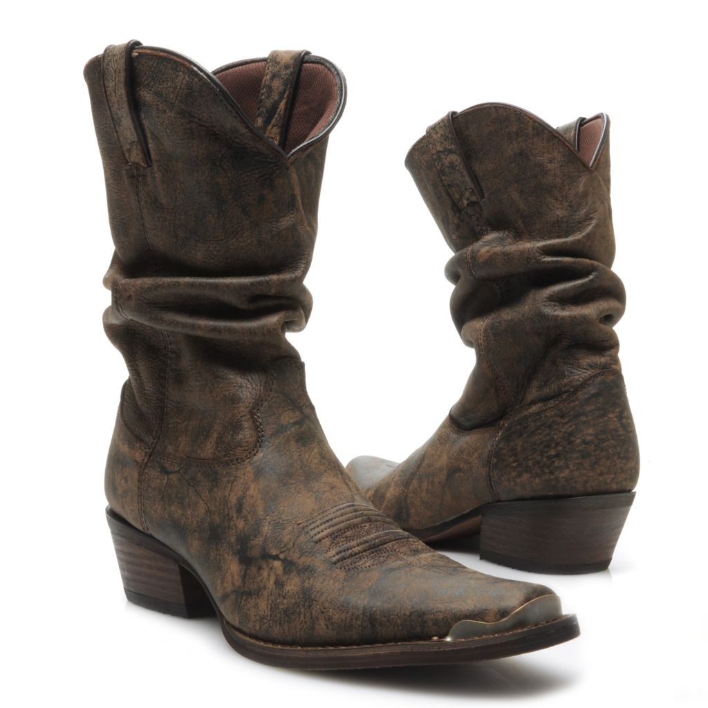 717-409 - Durango Men's Distressed Full Grain Leather Snip Toe Slouchy Mid-Calf Boots