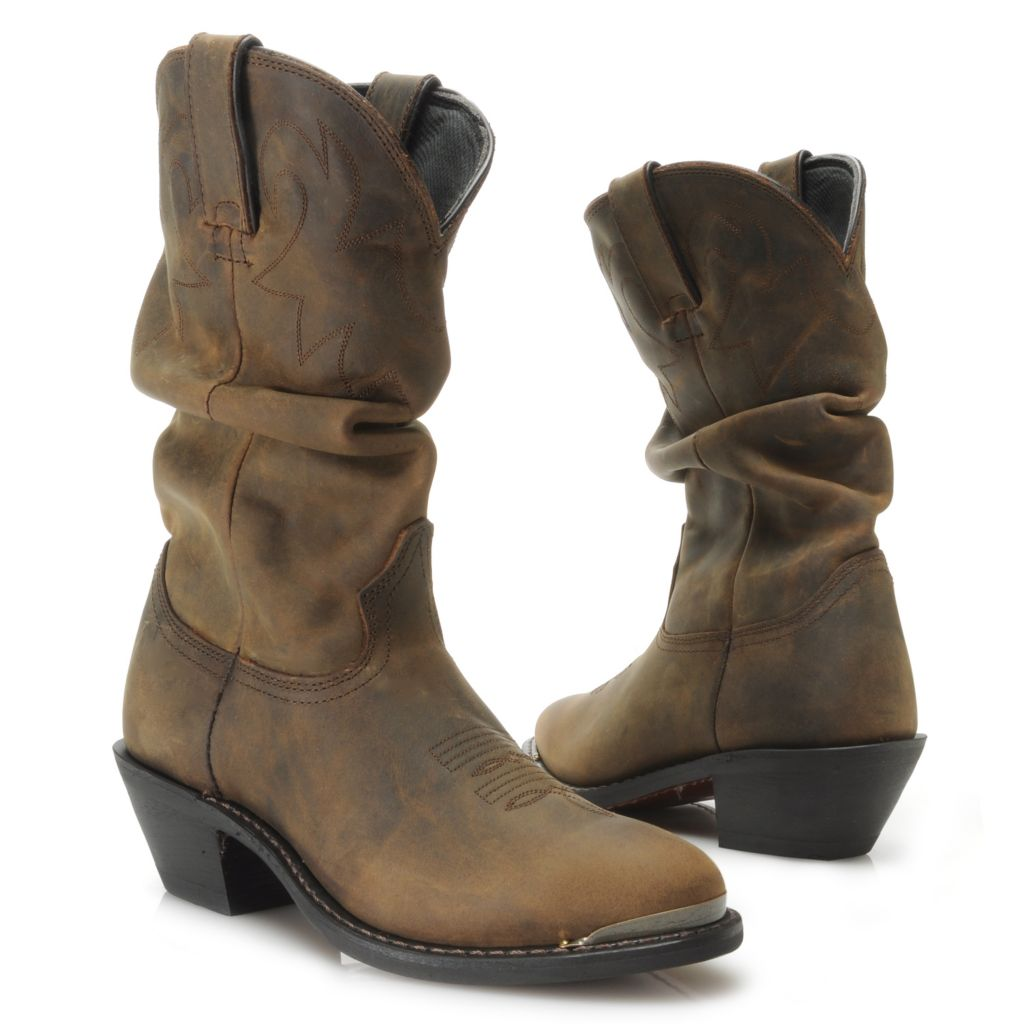 717-412 - Durango Full Grain Leather Scalloped Slouchy Western-Style Mid-Calf Boots