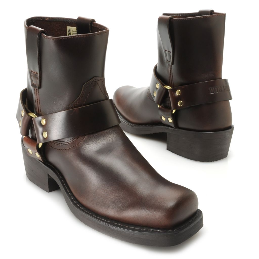 717-417 - Durango Men's Full Grain Leather Harness Detailed Square Toe Short Boots