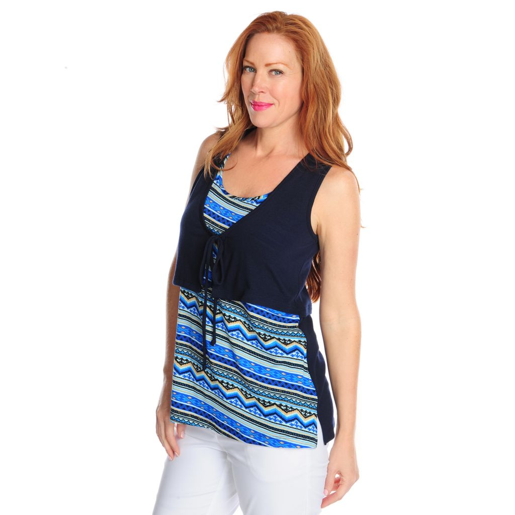 717-421 - Kate & Mallory Printed Knit Sleeveless Tunic w/ Attached Solid Faux Vest