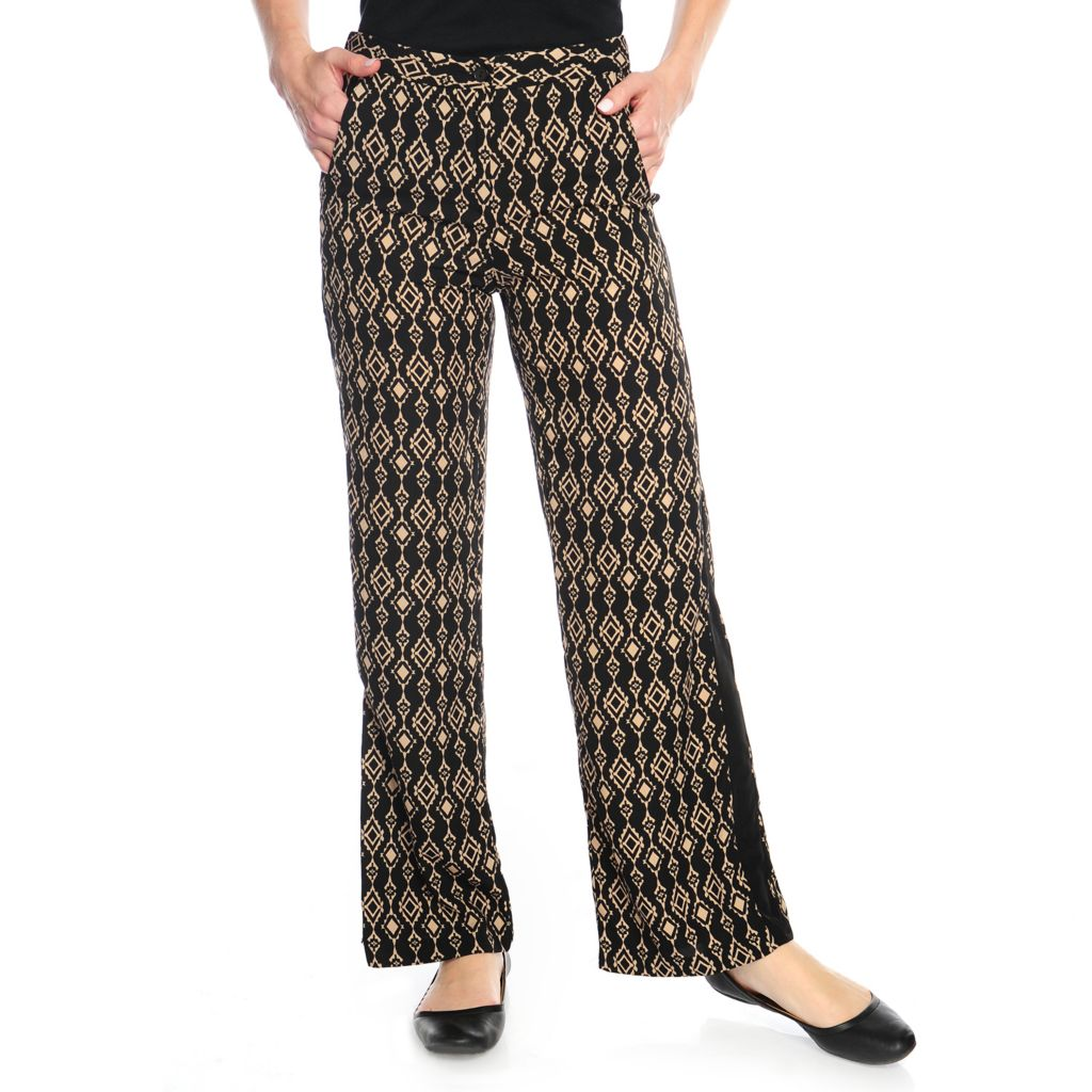 717-423 - Kate & Mallory Printed Woven Tuxedo Striped Wide Leg Pull-on Pants