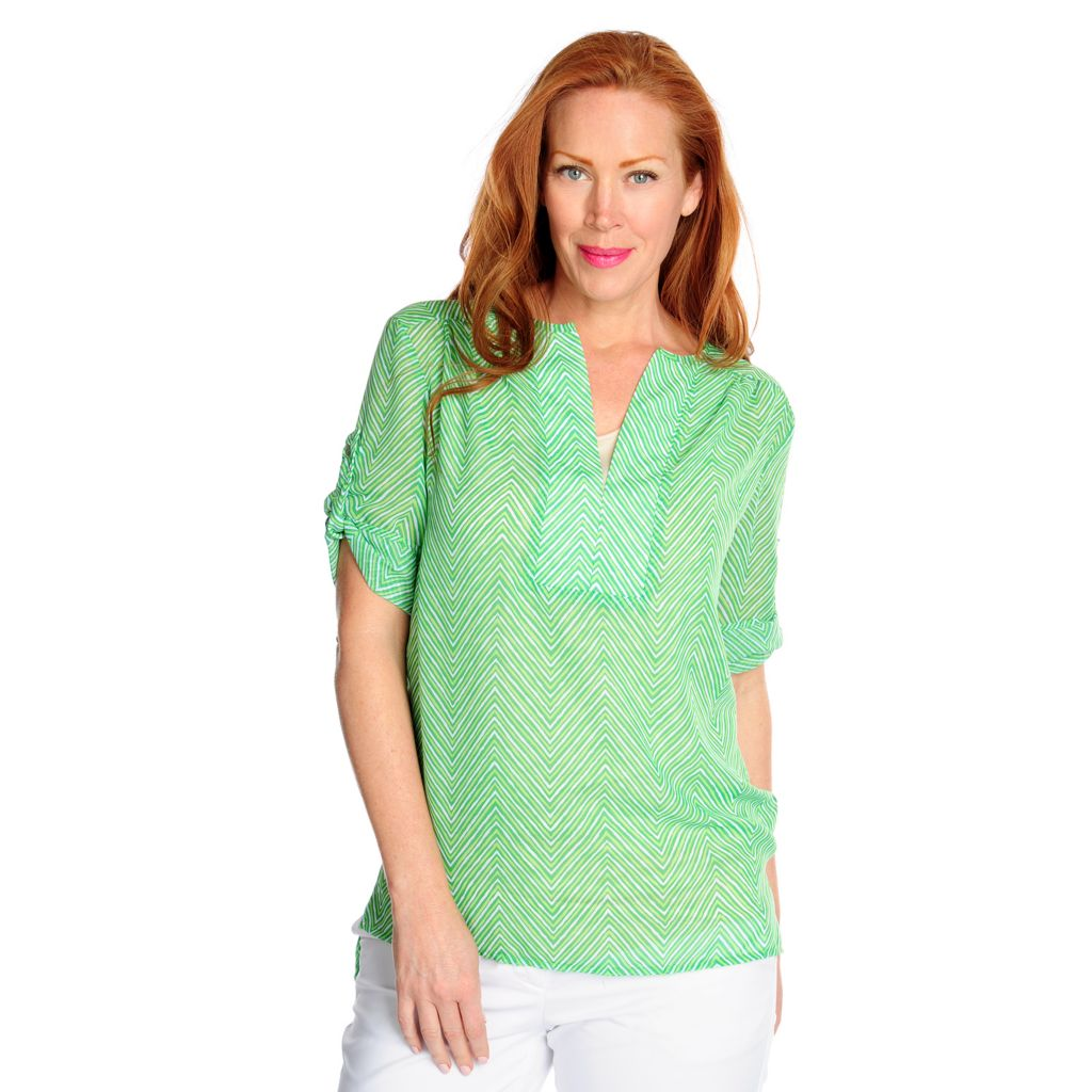 717-424 - Kate & Mallory Print Woven Roll Tab Sleeved Notch Neck Hi-Lo Top