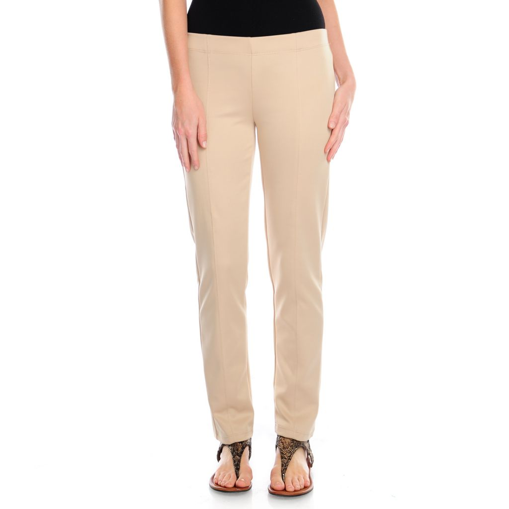 717-425 - Kate & Mallory Techno Elastic Waist Seam Detailed Pull-on Pants