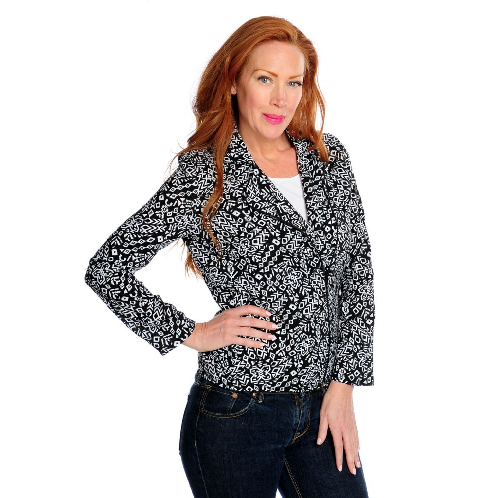 717-427 - Kate & Mallory Printed Challis Long Sleeved Asymmetrical Zip Moto Jacket