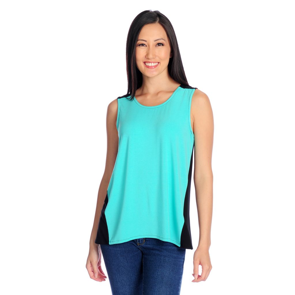 717-430 - Kate & Mallory Stretch Knit Sleeveless Color Block Hi-Lo Tank Top