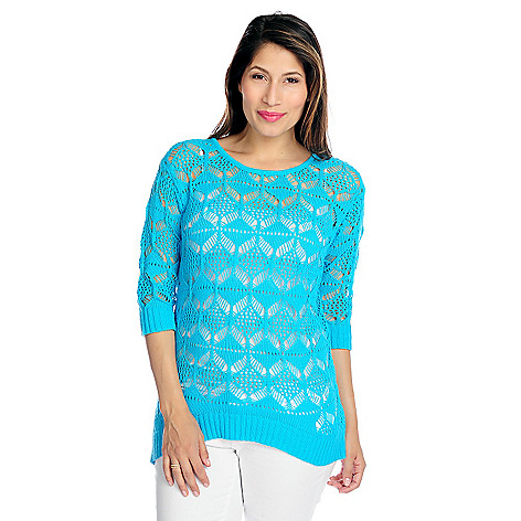 717-431 - Kate & Mallory® Open Knit 3/4 Sleeved Lightweight Hi-Lo Sweater