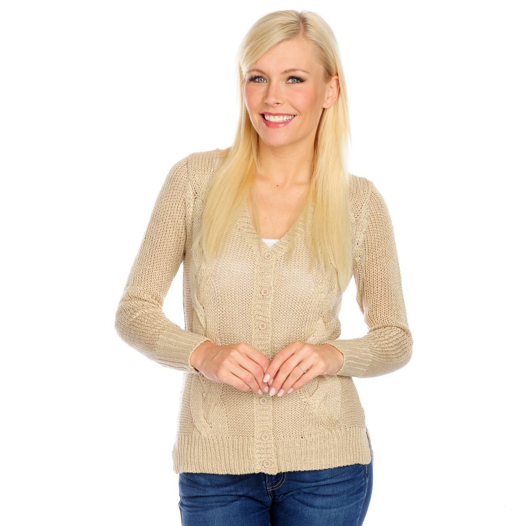 717-432 - Kate & Mallory Cable Knit Long Sleeved Button Front Hi-Lo Cardigan
