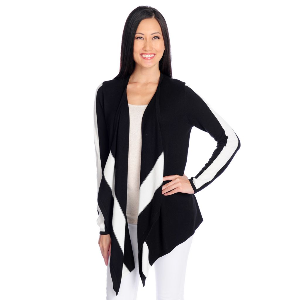 717-433 - Kate & Mallory Fine Gauge Knit Long Sleeved Open Front Cascade Cardigan