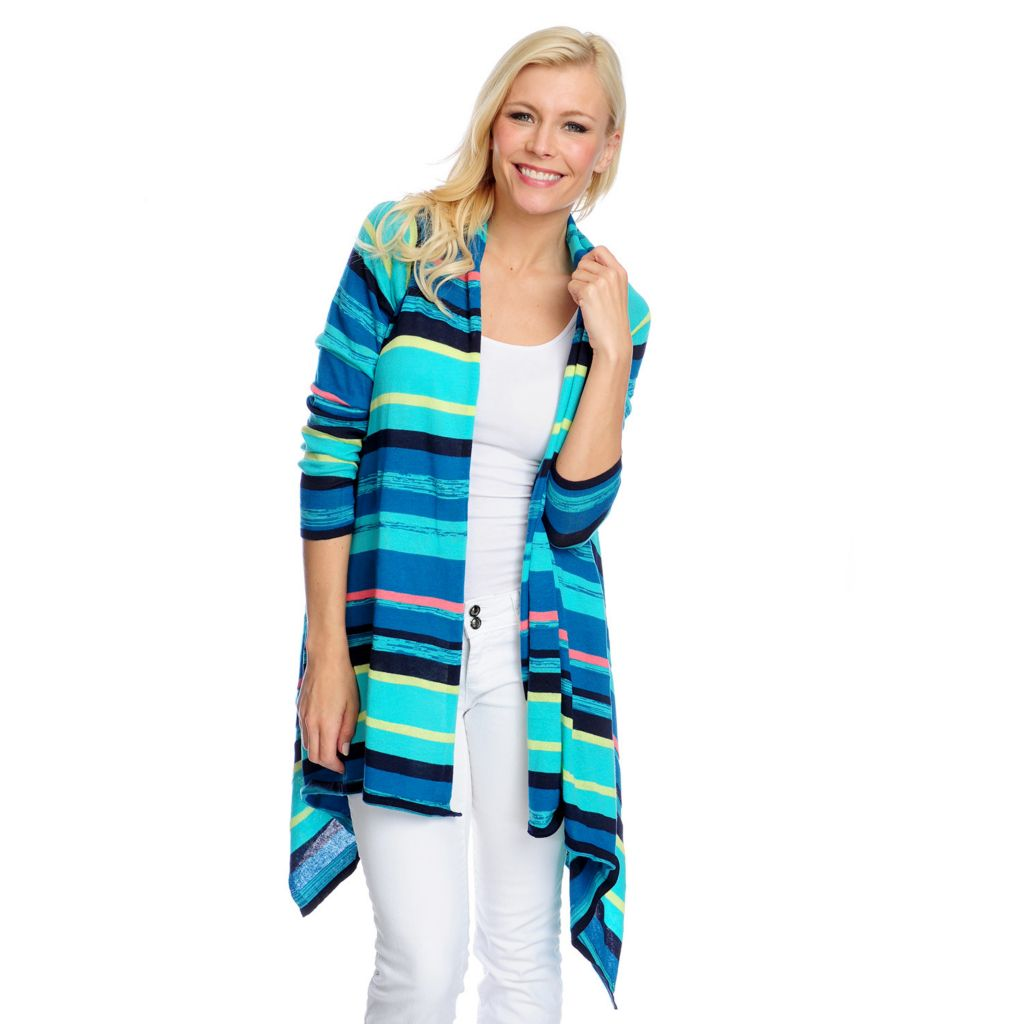 717-447 - Kate & Mallory Fine Gauge Knit Long Sleeved Cascade Front Cardigan