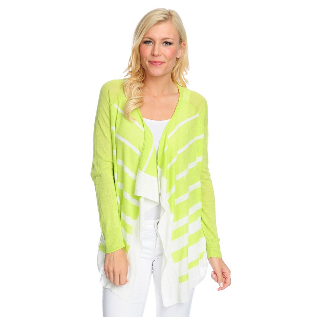 717-448 - Kate & Mallory Fine Gauge Knit Long Sleeved Open Front Striped Cardigan