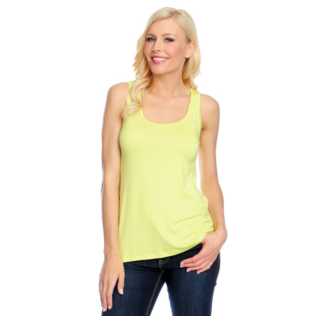 717-449 - Kate & Mallory Stretch Knit Scoop Neck Low Hip Basic Tank Top