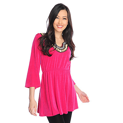 717-455 - Affinity for Knits™ 3/4 Sleeve Cinched Waist Embellished Notch Neck Tunic