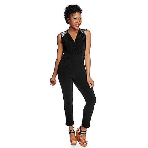 717-456 - Affinity for Knits™ Sleeveless Tapered Leg Embellished V-Neck Jumpsuit