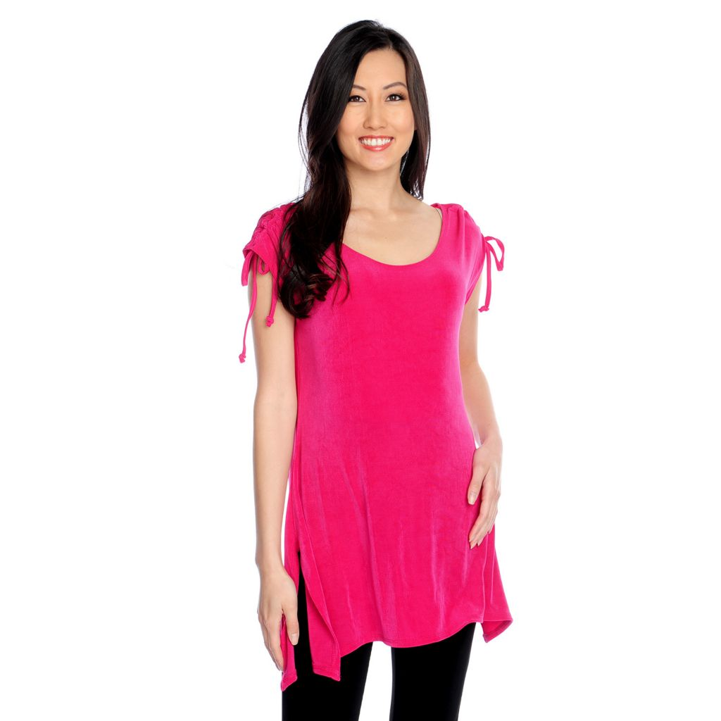 717-459 - Affinity for Knits™ Cap Sleeved Drawstring Detail Sharkbite Hem Round Neck Tunic
