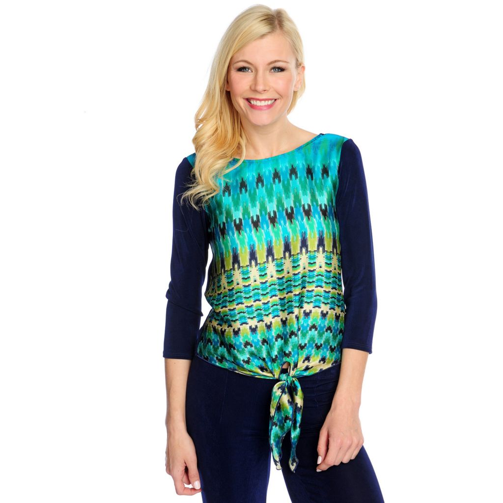 717-460 - Affinity for Knits™ 3/4 Sleeved Tie-Front Printed Top