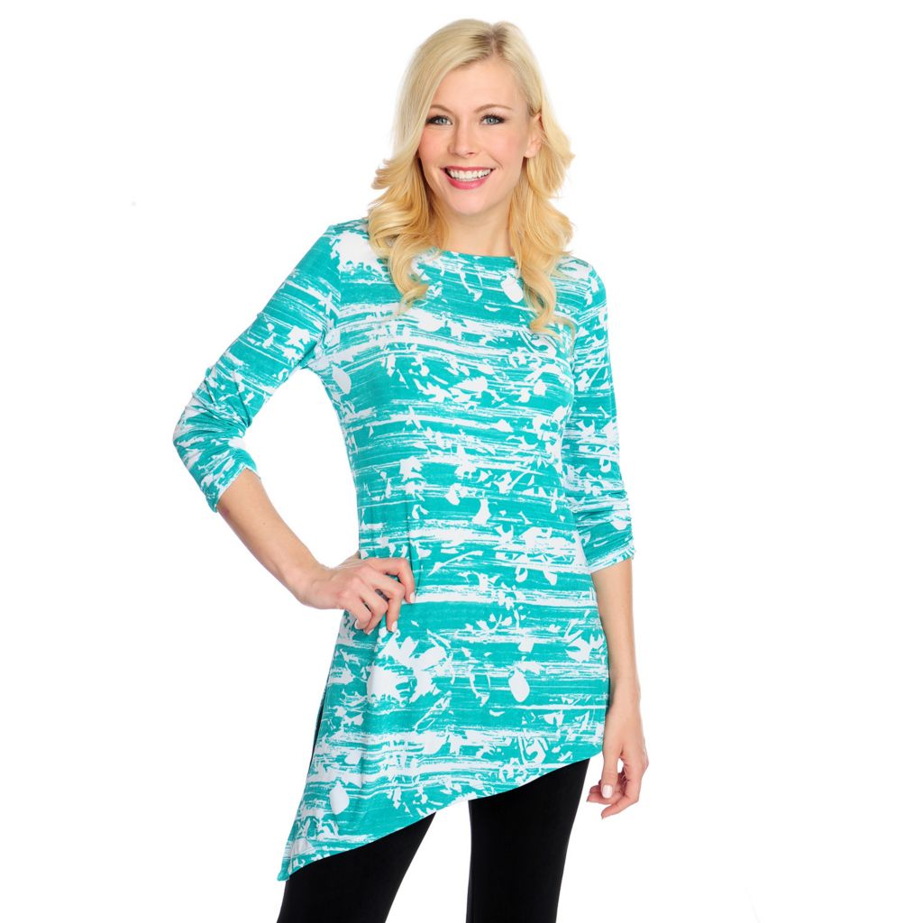 717-461 - Affinity for Knits™ 3/4 Sleeved Ruched Detail Asymmetrical Hem Printed Tunic