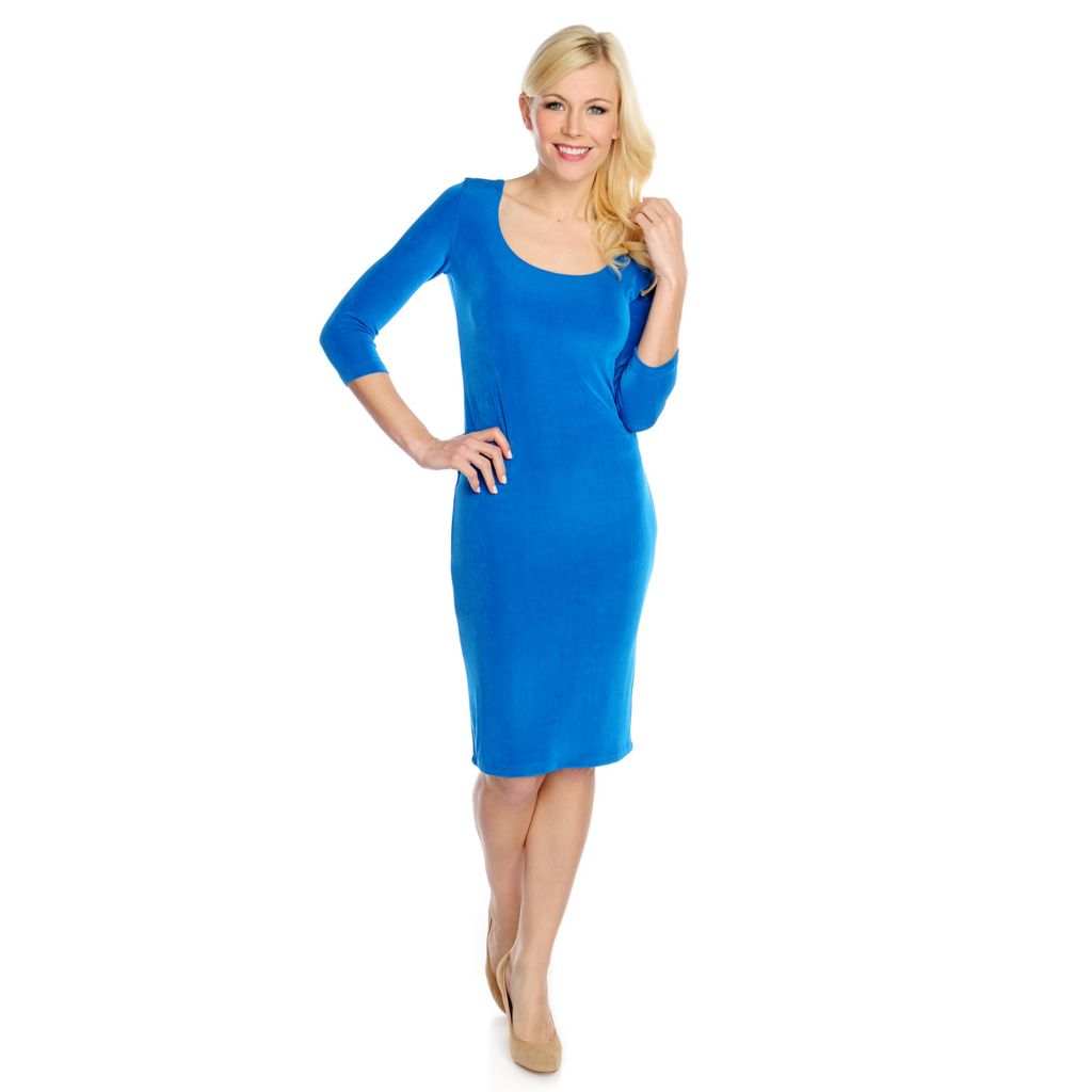 717-462 - Affinity for Knits™ 3/4 Sleeved Scoop Neck Midi Dress