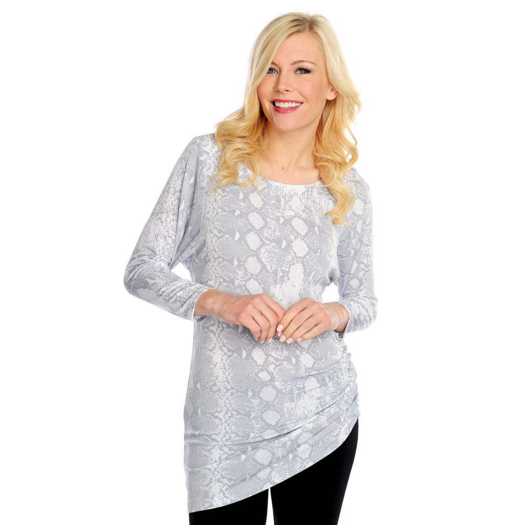 717-463 - Affinity for Knits™ 3/4 Sleeved Ruched Side Printed Tunic