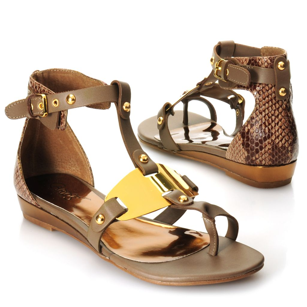 717-464 - Carlos by Carlos Santana Reptile Embossed Ankle Strap Sandals