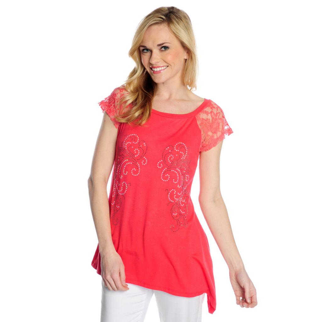 717-468 - Glitterscape Stretch Knit Short Sleeved Asymmetrical Hem Embellished Top
