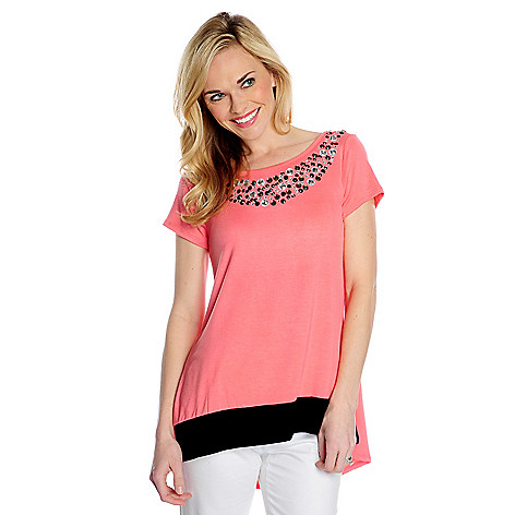 717-469 - Glitterscape Stretch Knit Short Sleeved Embellished Neck Hi-Lo Top