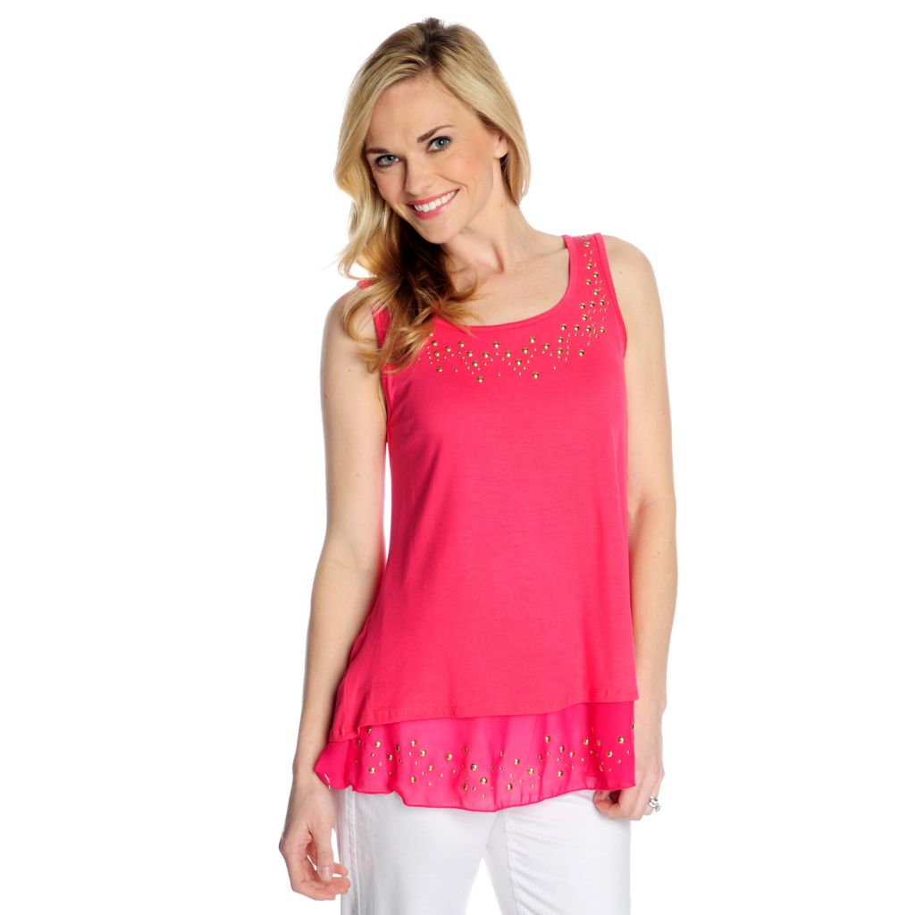 717-470 - Glitterscape Stretch Knit Scoop Neck Chiffon Trim Embellished Tank