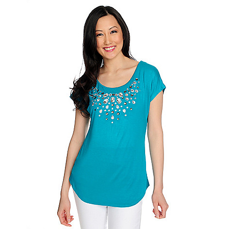 717-471 - Glitterscape® Stretch Knit Short Sleeved Scoop Neck Embellished Top