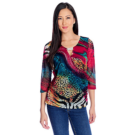 717-478 - Glitterscape® Stretch Knit 3/4 Sleeved Rhinestone Detail Keyhole Neck Top