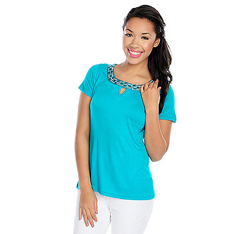 717-480 - Glitterscape Stretch Knit Short Sleeved Embellished Keyhole Neck Top