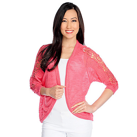 717-481 - Glitterscape Slub Knit 3/4 Sleeved Lace Detailed Open Cardigan