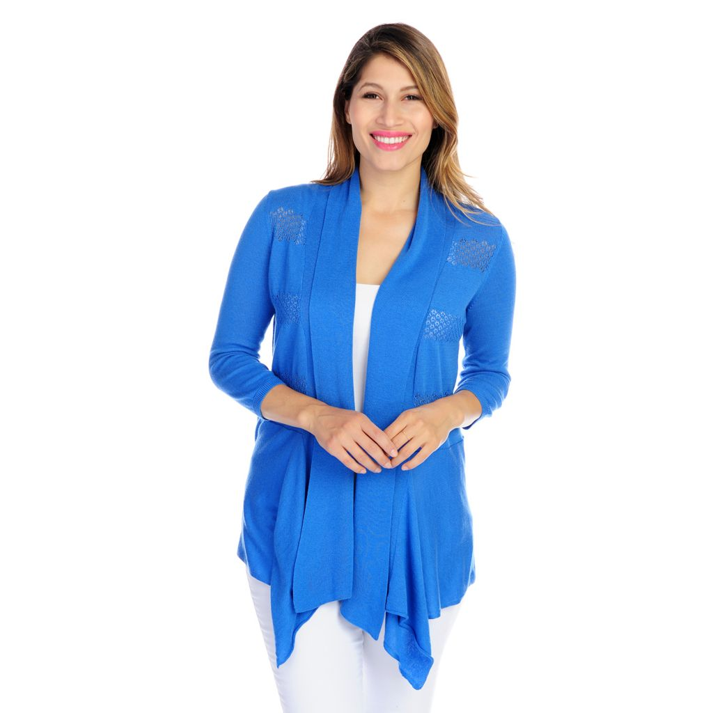 717-488 - OSO Casuals Pointelle Striped Sweater Knit Draped Front Open Cardigan