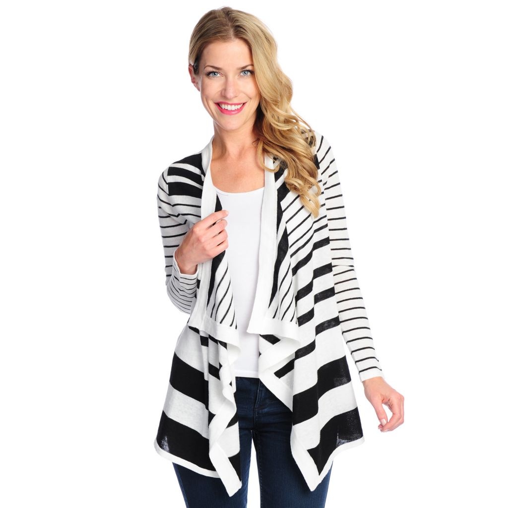 717-490 - OSO Casuals Sweater Knit Long Sleeved Variegated Stripe Open Cardigan
